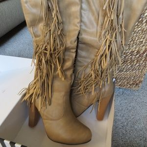 Sexy Light Tan Knee High Boots with Fringe